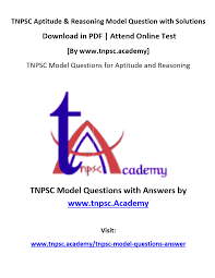 pdf tnpsc aptitude and mental ability model question with answer 1
