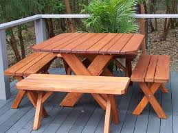 Creative Benches Redwood Picnic Table Crafts Home