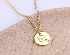 Personalized Disc Necklace Initial Disc Necklace Rose Gold Disc Charm Tiny Wisconsin