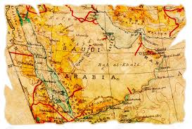 arabia map saudi arabia on an torn map from 1949 isolated part of