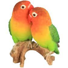 animaux resine jardin couple perroquets inséparables en résine h 13 3 cm riviera