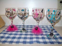 how to personalize a wine glass polka dot with gems personalized wine glasses feather
