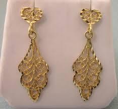 14k gold earrings delicate 14k gold filigree pierced dangle earrings tag sale