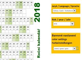 Kalendář 2018 Svátky Roční Kalendáře 2018 šablona Excel školení Konzultace