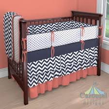 Navy And Coral Crib Bedding Nursery Beddings Coral And Navy Blue Nursery Bedding As Well As