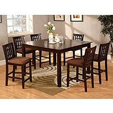 Amazoncom Eleanor Piece Espresso Finish Counter Height Dining - 7 piece dining room set counter height