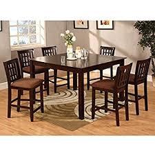 Amazoncom Eleanor Piece Espresso Finish Counter Height Dining - 7 piece dining room set counter height