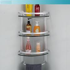Glass Shelving For Bathrooms Aluminum 3 Tier Glass Shelf Shower Holder Bathroom Accessories