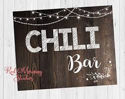 make your own buffet table chili bar sign etsy