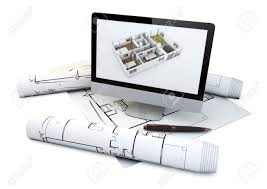 Draw Floor Plans On Computer Actual Flat Design Concept Computer With A House Plan On The