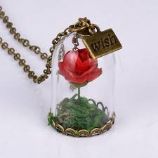 wish bottle necklace images 2018 women girl forever love rose flower antique bronze glass wish jpg