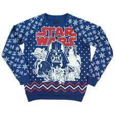 womens retro star wars all over print christmas sweatshirt blue