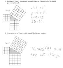 pythagorean squares students are asked to explain how a pair of
