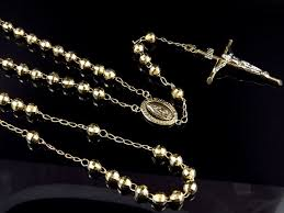 rosary necklace 10k yellow gold diamond cut 6 mm rosary necklace chain 26 6