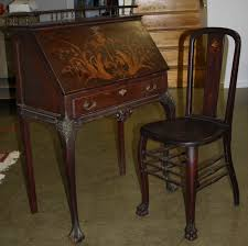 antique ladies writing desk inlaid ladies writing desk and chair jpg merrill s auction