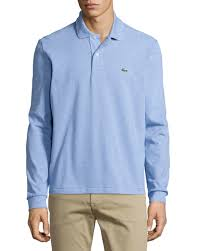 light blue long sleeve polo lyst lacoste long sleeve classic pique polo in blue for men
