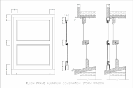 architectural drawing sp flush frame aluminum storm window
