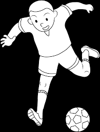 coloring page of boy playing soccer free clip art