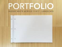 Resume Holder 11x17 Landscape White Acrylic Portfolio Elegant Modern Folder
