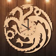 game of thrones home decor dragon game of thrones handmade natural wood wall clock bedroom