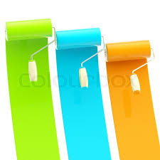 colorful glossy green blue orange bright paint rollers with