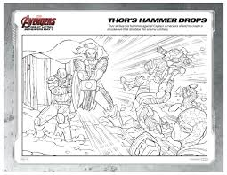 marvel avengers coloring page thor u0027s hammer drops printable