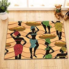 femme de chambre x femmes africaines travailleuses motif ondulé noir tapis de sol en