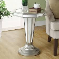 Pedestal Accent Table Sleek Look With A Mirrored End Table Coffee Table Review