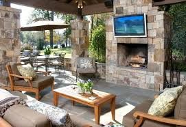 outdoor living room ideas modern with stone fireplace and wooden