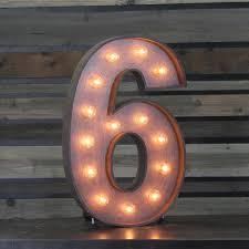 marquee numbers with lights edison marquee number 6 town country event rentals