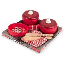melissa u0026 doug deluxe wooden kitchen accessory set pots u0026 pans