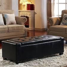 Kinfine Storage Ottoman Brown Leather Storage Bench With Arms Brown Leather Storage Bench