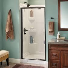 delta phoebe 36 in x 66 in semi frameless pivot shower door in