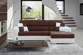 canapé d angle droit ou gauche canapé d angle madrid ii cuir pu et microfibre chocolat et blanc