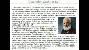 facts about alexander graham bell s telephone esl reading alexander graham bell youtube