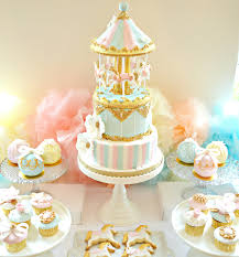 pink blue and gold carousel birthday cake cupcakes and cookies