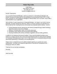 resume cover letter samples for restaurant