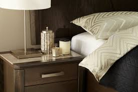 the maitland bedroom suite features unique marble top bedsides for