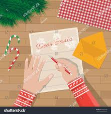 child hand pen writing letter santa stock vector 500467960