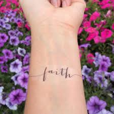 amazon com faith temporary tattoo set of 2 spiritual quote