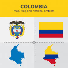 colombia map vector colombia map flag and national emblem vector premium