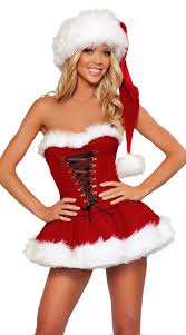 womens santa costume strapless lace up miss santa costume christmas costume for women