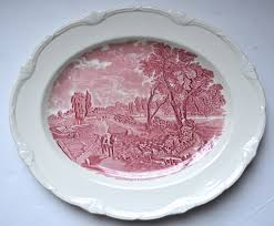 Bd Bad Lg Scenes After Constable Red Pink Transferware Platter Flatford Mil