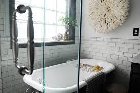 bathroom bathroom beadboard subway tile black and white floor