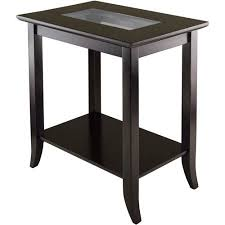 square glass end table winsome wood genoa end table with glass top espresso finish