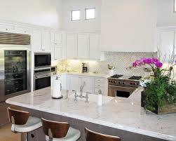 Arabesque Backsplash Tile by Transitional White Cabinets Gray Oak Island Carrera Arabesque