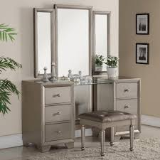 The Vanity Room 3 Pc Fontaine Antique Champagne Finish Wood Bedroom Makeup Vanity