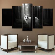 wolf home decor canvas art pictures prints poster home decor 5 panel landscape