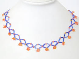 beaded necklace patterns images Simple blue rhombic bugle bead necklace pattern for beginners jpg