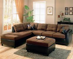 L Shaped Fabric Sofas L Shaped Brown Fabric Sofa With Grey Pattern Cushions Added By